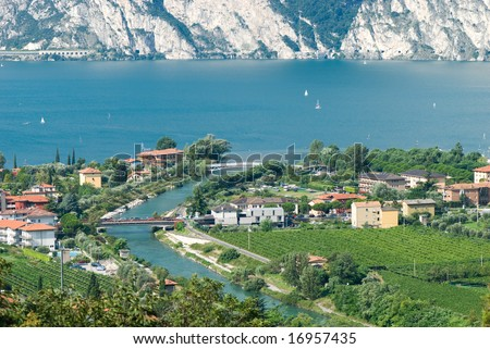 view of the lake Garda . North Italy. - stock photo