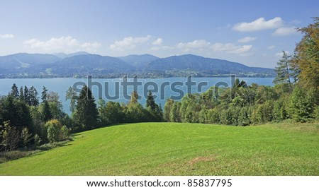"""View of the lake """"Tegernsee"""" in the Alps of Bavaria"""
