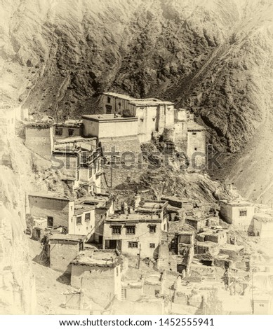 View of the Lamayuru village - Tibet, Kargil District, Leh district, Western Ladakh, Himalayas, Jammu and Kashmir, Northern India (stylized retro)
