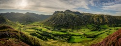 View of the Langdale Pikes from Side Pike, Lake District, England