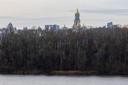 View of the large bell tower and other churches in the Kyivo-Pecherska Lavra. Kyiv. Ukraine. Kyivo-Pechersky Monastery.