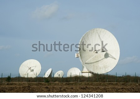 View of the large parabolic satellite antennas at the Goonhilly Earth Station, Lizard Peninsula, Cornwall which houses a historic parabolic dish called Arthur