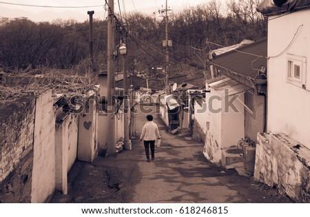 View of the last poor hillside village called Baeksa Village(104 town or 104 village) in Seoul, Korea.