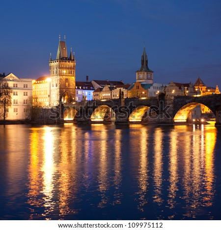 View of the Lesser Bridge Tower of Charles Bridge in Prague (Karluv Most) the Czech Republic. This bridge is the oldest in the city and a very popular tourist attraction