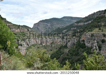 View of the Leza river canyon from its viewpoint. Limestone rock ravine before reaching the village of Soto in Cameros. La Rioja, Spain. Stock fotó ©