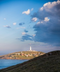 View of the lighthouse and surrounding area of all the Lagoon peninsula in Laguna, Santa Caterina- Brazil