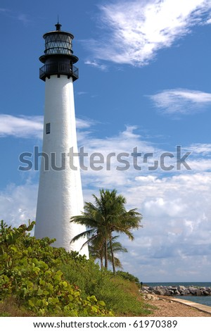 View of the lighthouse and the Atlantic ocean on Key Biscayne in Miami Florida