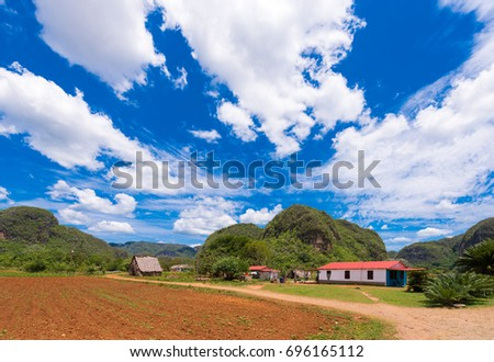 Shutterstock View of the Los Acuaticos, Vinales, Pinar del Rio, Cuba. Copy space for text