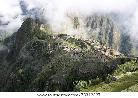 View of the Lost Incan City of Machu Picchu near Cusco - stock photo