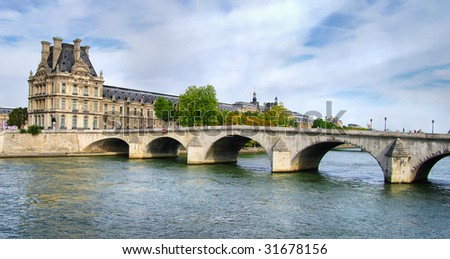 View of the Louvre, across the Seine River, Paris, France