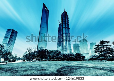 view of the lujiazui financial centre in shanghai china.