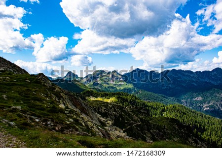 view of the Magna Pass in the granite way on the Lagorai in the dolomites in the Italian Alps part of the Tesino Plateau #1472168309
