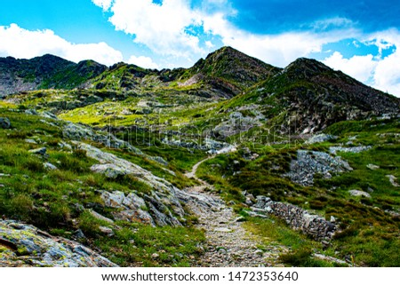 view of the Magna Pass in the granite way on the Lagorai in the dolomites in the Italian Alps part of the Tesino Plateau #1472353640