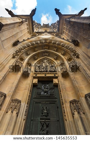 View of the main entrance to the St. Vitus Cathedral, Prague Castle