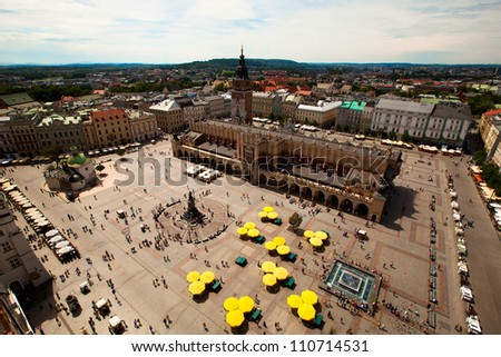 View of the Main Square (Polish: Rynek Glowny w Krakowie) is the main market square of the Old Town in Krakow, Poland.