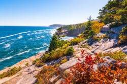 View of the Maine coastline at Acadia National park.