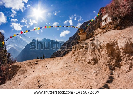 View of the majestic autumn mountains of Nepal from trekking around Annapurna #1416072839