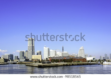 View of the Marina in Yokohama Bayside - stock photo