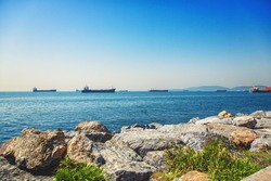 View of the Marmara sea from the shore of Kartal district in asian side of Istanbul, Turkey