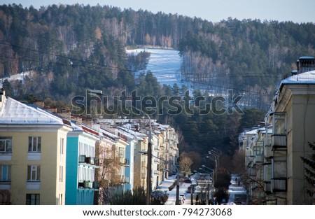 View of the Mayakovsky street in Zheleznogorsk city