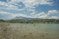 view of the Mediano reservoir near the town of Ainsa, located in Huesca, Spain. Pirineo Aragones
