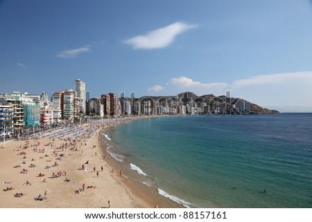 View of the Mediterranean resort Benidorm, Spain, Photo taken at 20th of October 2011