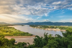 View of the Mekong River Golden Triangle on Wat Phra That Phu Khao Which is located on a mountain in Chiang Saen, Chiang Rai, Thailand
