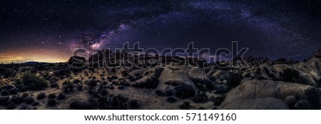 View of the Milky Way Galaxy at the Joshua Tree National Park.  The image is an hdr of astro photography photographed at night.  It depicts science and the divine heaven.