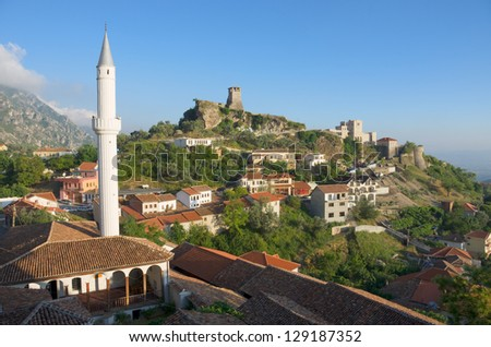 view of the minaret of the Kruja village and the Clock Tower and National Museum in Skanderbeg Castle, Albania