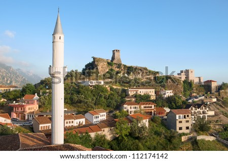 view of the minaret of the Kruja village, the Clock Tower and National Museum in Skanderbeg Castle, Albania