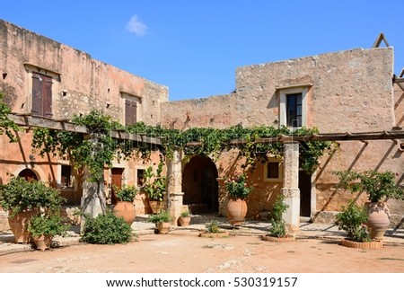 View of the Monk cells at Arkadi Monastery, Arkadi, Crete, Greece, Europe. #530319157