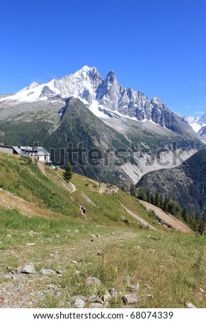 View of the Mont-Blanc massif behind a little house in the mountain by beautiful weather, Chamonix, France