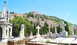 View of the Montjuic cemetery, Barcelona, Catalunya, Spain, Europe