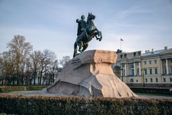 View of the monument to the Bronze Horseman and the building of the Sinat and Synod. Saint-Petersburg, Russia.