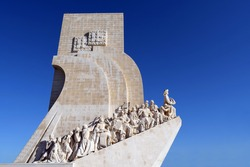 View of the Monument to the Discoveries, or Padrão dos Descobrimentos, located in Belém in Lisbon, Portugal
