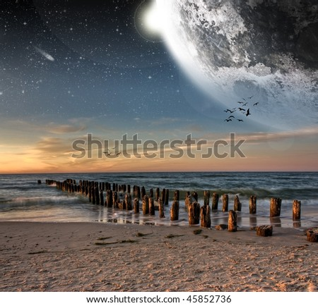 View of the moon from a beautiful beach - More space art in my portfolio