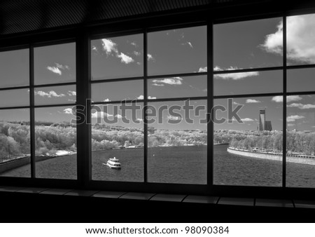 View of the Moscow river with a subway bridge - shot in the far infrared region of the spectrum