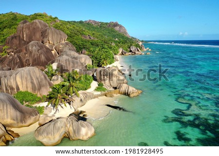 View of the most beautiful beach in the world. Anse Source d'Argent, La Digue, Seychelles Photo stock ©