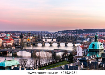 View of the most important bridges in Prague: Charles bridge, Palace bridge, Railway bridge, Legion bridge, Manes, Jirasek. Czechia #626534384