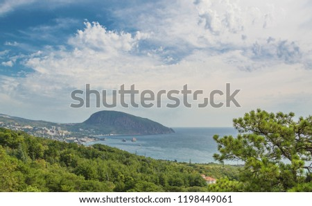 View of the mountain Ayu-Dag, the Black Sea and the city of Gurzuf