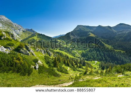 View of the mountain valley. Germany. Jenner am Koenigssee.