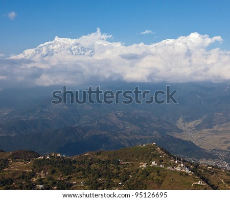 View of the mountainous region of the Annapurna from motor hang-glider - Pokhara, Nepal