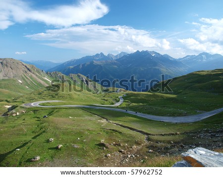 View of the mountains and the road from the highest road pass in the Austrian Alps (Hochtor)