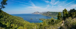 View of the mountains of the Peljesac peninsula, islands and bays of the Adriatic Sea from Mount St. Ivan