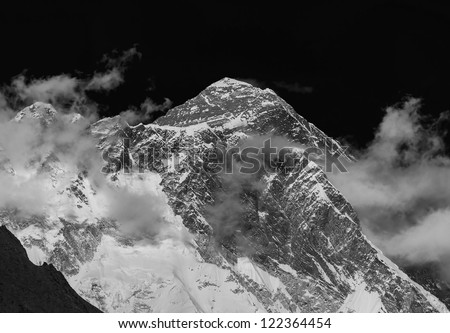 View of the Mt. Everest (8848 m) from South - Nepal, Himalayas (black and white)