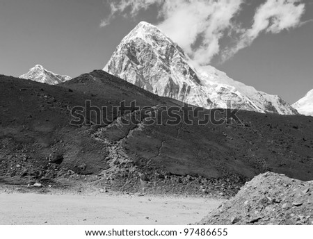 View of the Mt. Everest region from Gorak Shep to Kala Patthar and Pumo Ri, Nepal - black and white