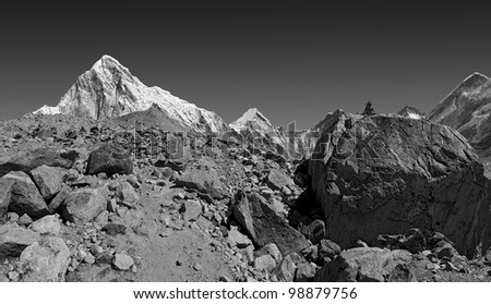 View of the Mt. Everest region near Gorak Shep (black and white) - Nepal - stock photo