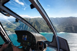 View of the Na Pali Coast from Helicopter Cockpit