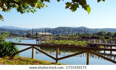 View of the Natural Park 'Parque Natural Marismas de Santoña, Victoria y Joyel'.Camtabria,Spain Zdjęcia stock ©
