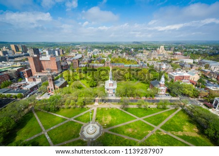 View of the New Haven Green and downtown, in New Haven, Connecticut Сток-фото ©